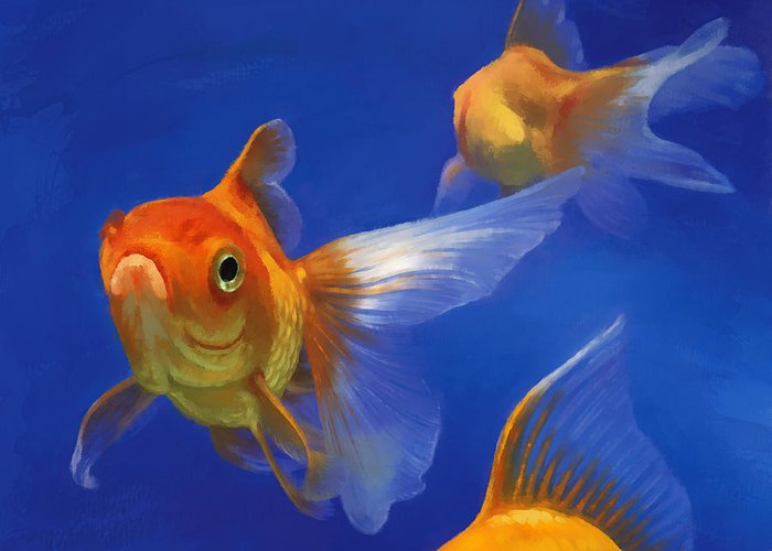 Goldfish Greeting Card featuring the painting Three Goldfish by Simon Sturge