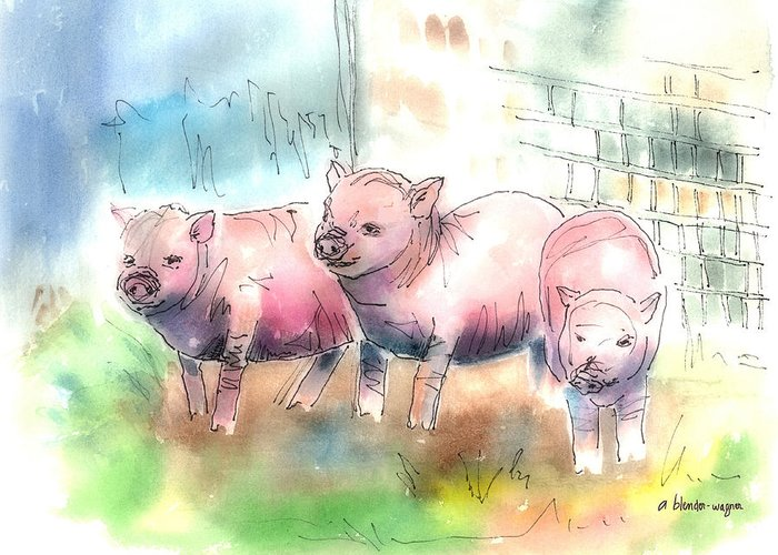 Pig Greeting Card featuring the mixed media Three Little Pigs by Arline Wagner