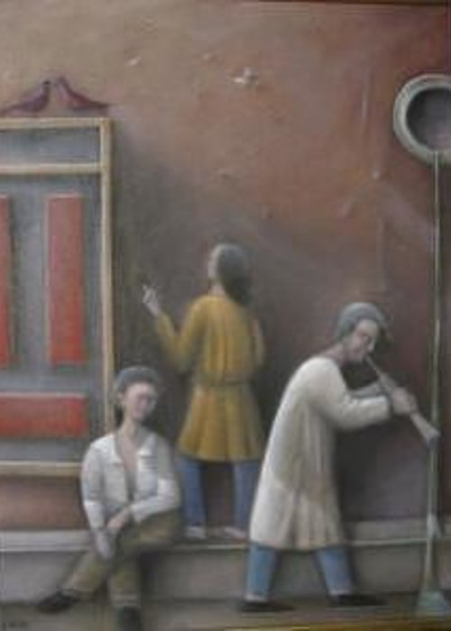 Greeting Card featuring the painting Three On Their Own by Alfredo DeCurtis
