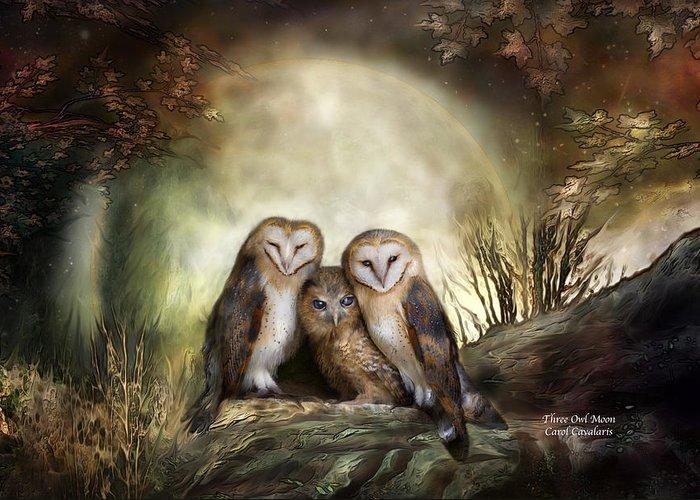 Owl Greeting Card featuring the mixed media Three Owl Moon by Carol Cavalaris
