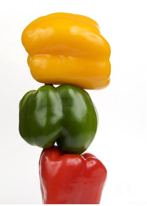 Texture Greeting Card featuring the photograph Three Peppers by Bernard Jaubert