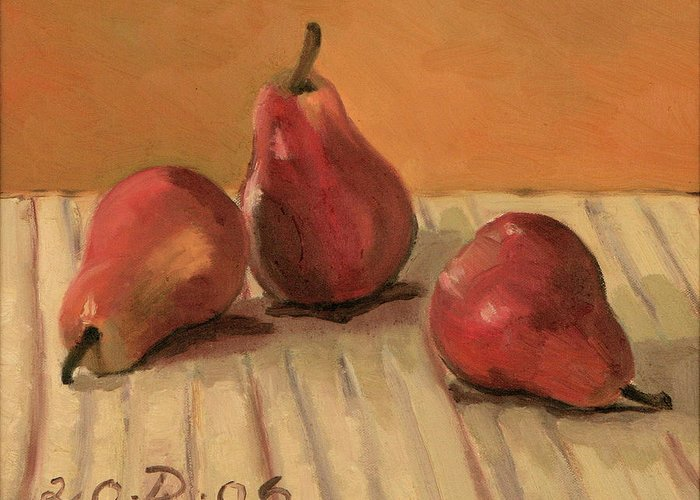 Still-life Pears Red Gold Greeting Card featuring the painting Three Red Pears by Raimonda Jatkeviciute-Kasparaviciene