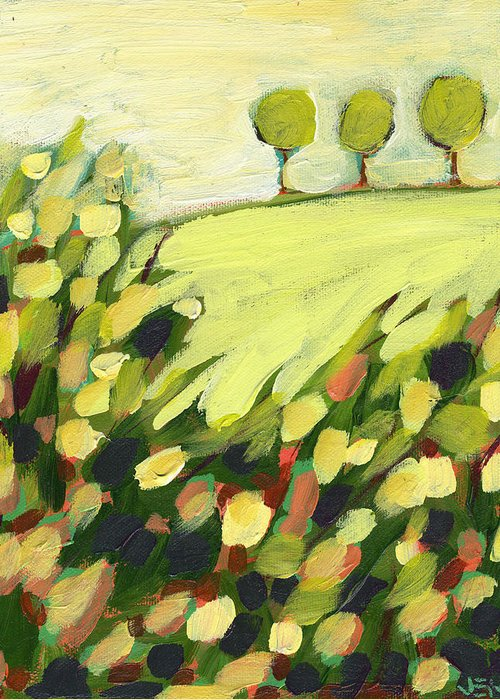 Landscape Greeting Card featuring the painting Three Trees On A Hill by Jennifer Lommers