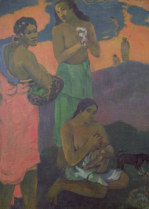 Maternity Greeting Card featuring the painting Three Women On The Seashore by Paul Gauguin