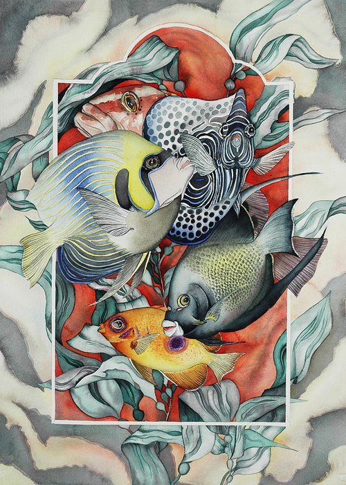 Fish Greeting Card featuring the painting Through My Underwater Front Window by Liduine Bekman
