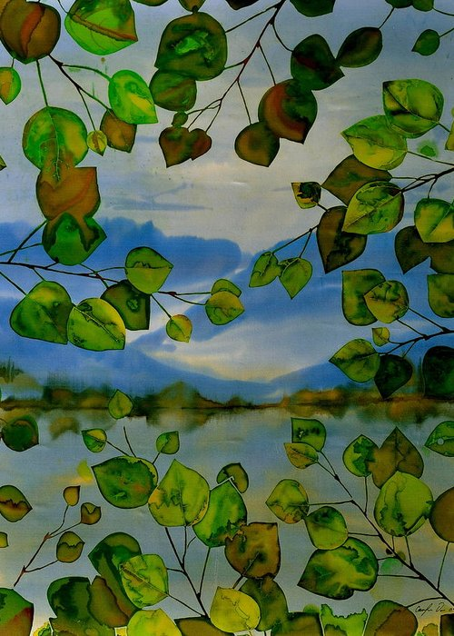 Batik Greeting Card featuring the tapestry - textile Thru The Aspen by Carolyn Doe