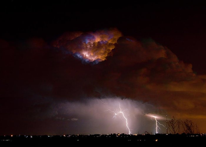 Lightning Greeting Card featuring the photograph Thunderstorm Boulder County 08-15-10 by James BO Insogna
