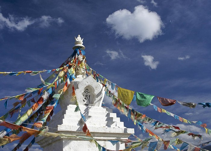 Asia Greeting Card featuring the photograph Tibetan Stupa With Prayer Flags by Michele Burgess