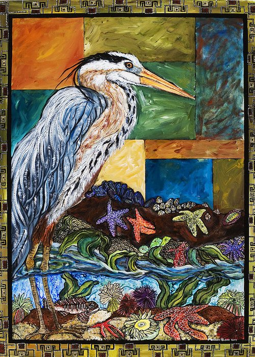 Bird Greeting Card featuring the painting Tidepool Heron by Melissa Cole