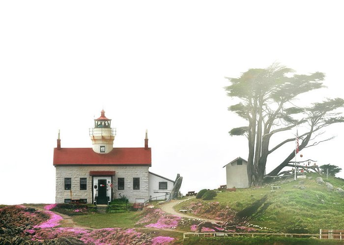 Battery Point Lighthouse Greeting Card featuring the photograph Tides Of Battery Point Lighthouse - Northern Ca by Christine Till