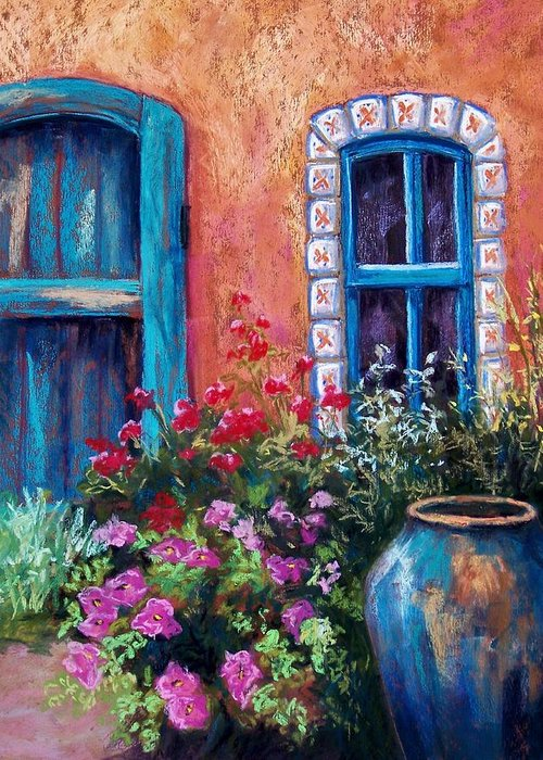 Landscape Greeting Card featuring the pastel Tiled Window by Candy Mayer