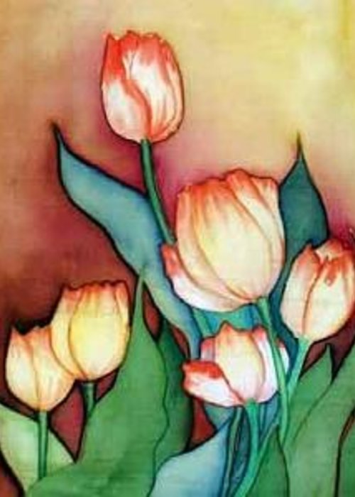 Silks Greeting Card featuring the painting Time For Tulips by Francine Dufour Jones
