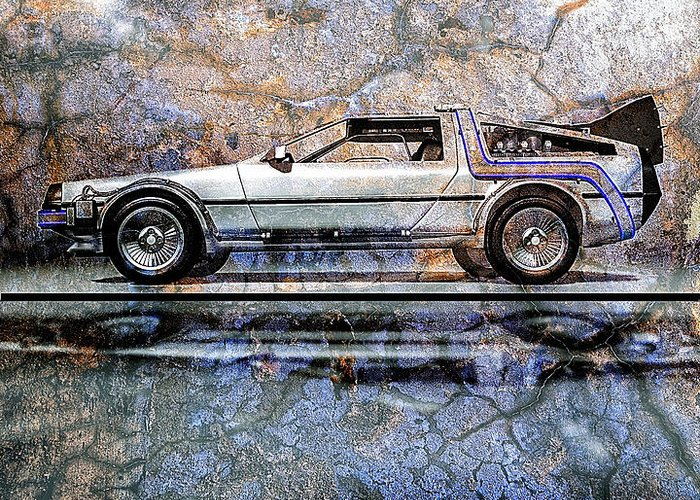 Back To The Future Greeting Card featuring the digital art Time Machine Or The Retrofitted Delorean Dmc-12 by Bob Orsillo