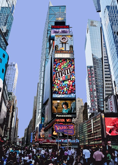 New York City Greeting Card featuring the photograph Times Square Nyc by Kelley King