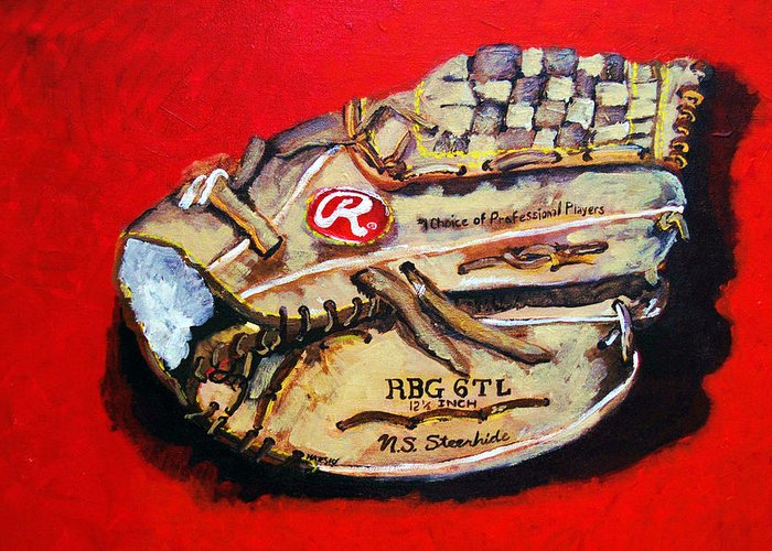 Baseball Greeting Card featuring the painting Tim's Glove by Jame Hayes