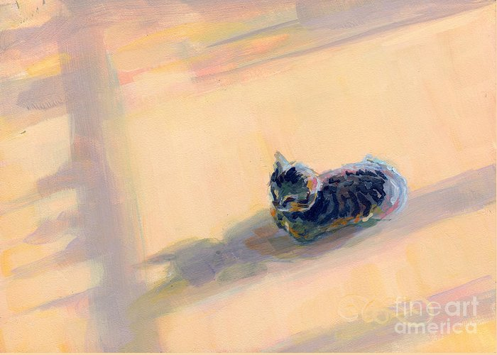 Gray Tabby Greeting Card featuring the painting Tiny Kitten Big Dreams by Kimberly Santini