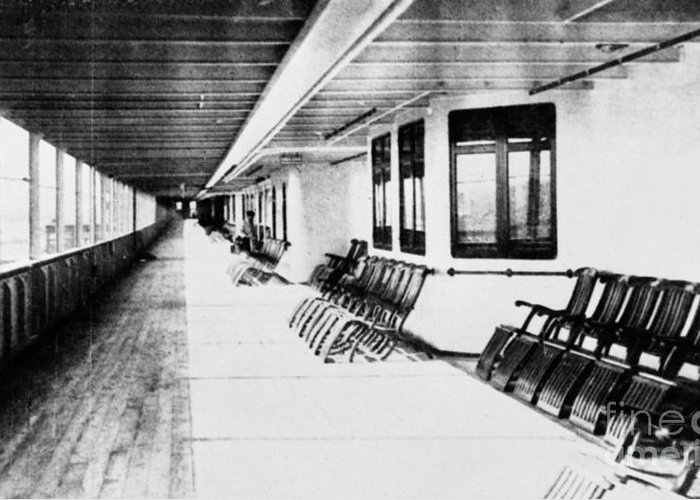 1912 Greeting Card featuring the photograph Titanic: Promenade Deck by Granger