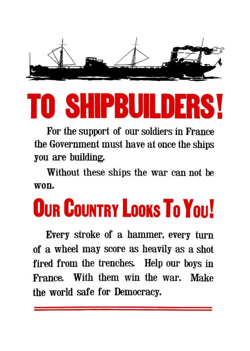 Ships Greeting Card featuring the digital art To Shipbuilders - Our Country Looks To You by War Is Hell Store