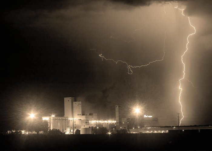 Budweiser Greeting Card featuring the photograph To The Right Budweiser Lightning Strike Sepia by James BO Insogna