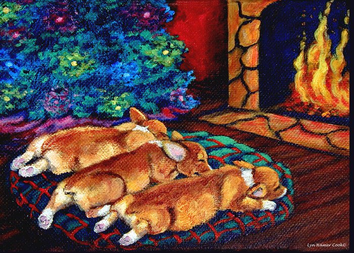 Pembroke Welsh Corgi Greeting Card featuring the painting Toasty Toes by Lyn Cook