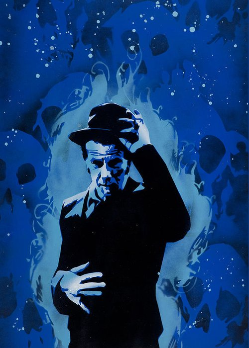 Pop Greeting Card featuring the painting Tom Waits by Tai Taeoalii