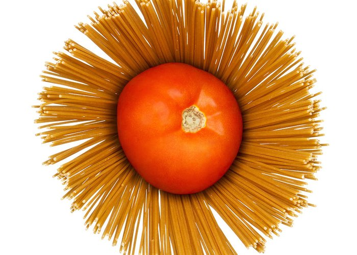 Pasta Greeting Card featuring the photograph Tomato And Pasta by Blink Images