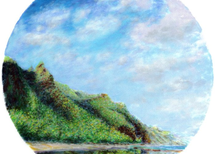 Coastal Decor Greeting Card featuring the painting Tondo by Kenneth Grzesik