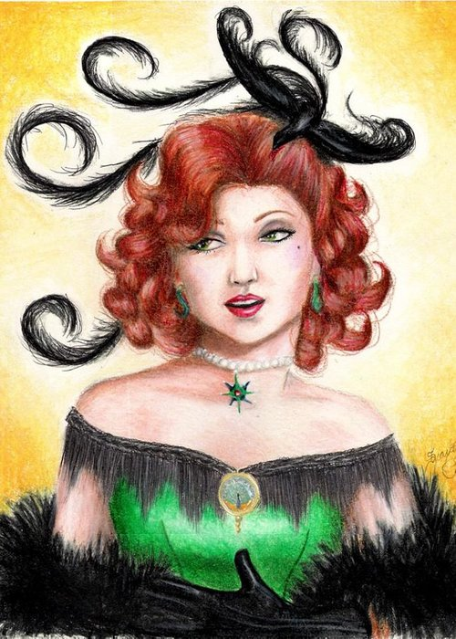 Saloon Greeting Card featuring the drawing Tonya by Scarlett Royal