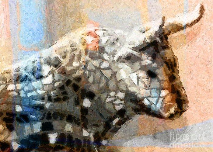 Toro Greeting Card featuring the painting Toro Taurus Bull by Lutz Baar