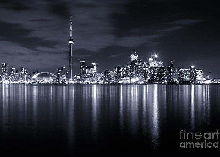 Toronto Greeting Card featuring the photograph Toronto Skyline Monochrome by Matt Trimble