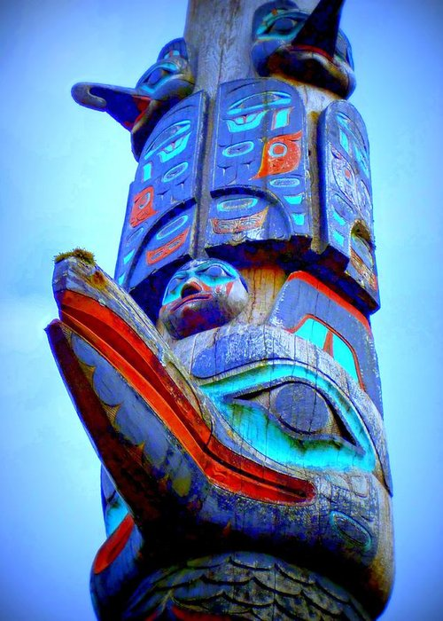 Totem Greeting Card featuring the digital art Totem 42 by Randall Weidner