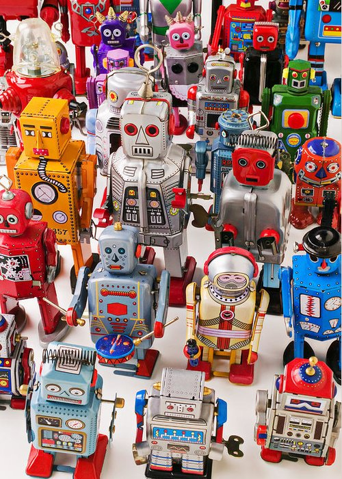 Robot Greeting Card featuring the photograph Toy Robots by Garry Gay