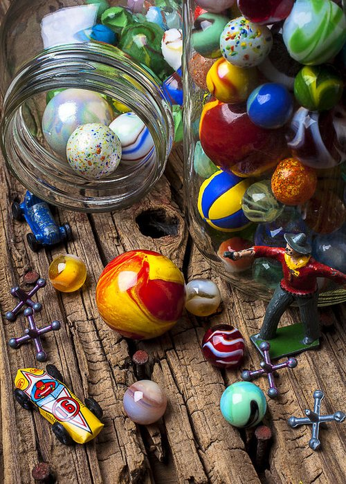 Jar Greeting Card featuring the photograph Toys And Marbles by Garry Gay