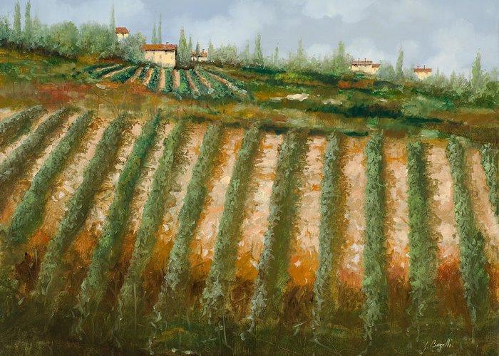 Vineyard Greeting Card featuring the painting Tra I Filari Nella Vigna by Guido Borelli
