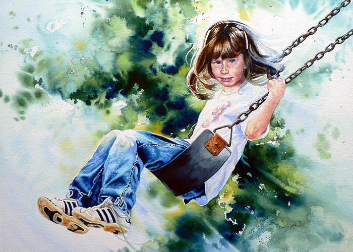 Action Portrait Greeting Card featuring the painting Tracy by Hanne Lore Koehler