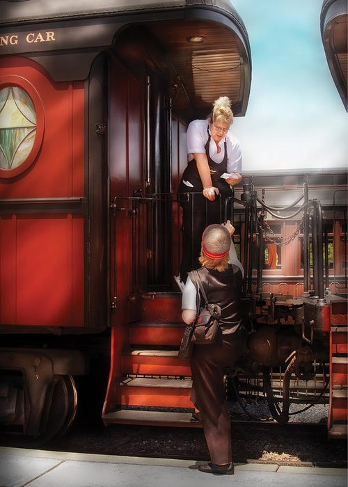 Savad Greeting Card featuring the photograph Train - Yard - Receiving A Telegram by Mike Savad
