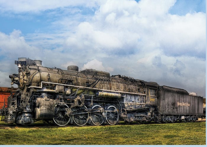 Savad Greeting Card featuring the photograph Train - Engine - Nickel Plate Road by Mike Savad