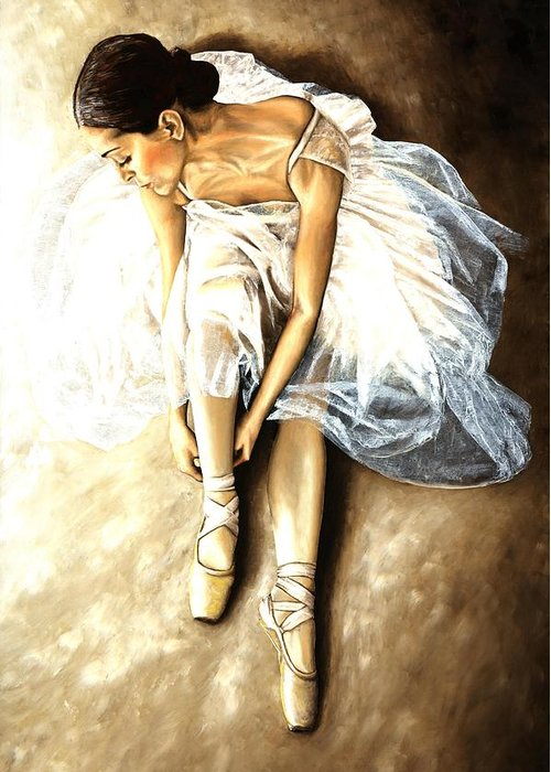 Ballet Greeting Card featuring the painting Tranquil Preparation by Richard Young