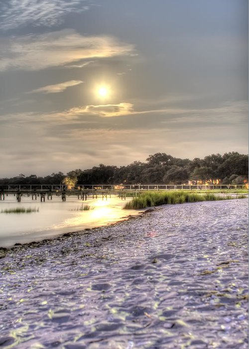 Full Moon Greeting Card featuring the photograph Tranquil Southern Night by Dustin K Ryan