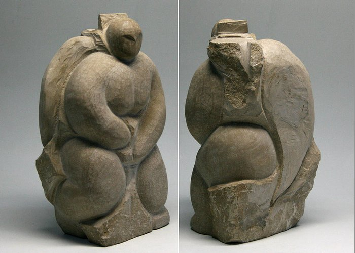 Limestone Greeting Card featuring the sculpture Transformations by Ken Hall