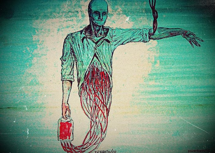 Blood Transfusion Greeting Card featuring the digital art Transfusion Uninterrupted by Paulo Zerbato
