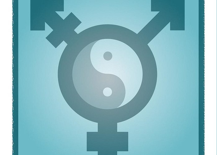 Yin Greeting Card featuring the photograph Transgender Balance, Conceptual Artwork by Stephen Wood