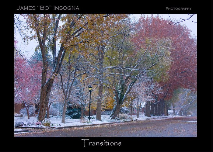 Country Greeting Card featuring the photograph Transitions Autumn To Winter Snow Poster by James BO Insogna