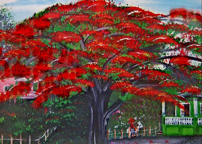 Flamboyant Tree Greeting Card featuring the painting Treasures Of Puerto Rico by Gloria E Barreto-Rodriguez