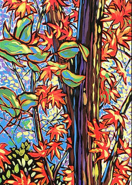 Red Greeting Card featuring the painting Tree Long by Nadi Spencer