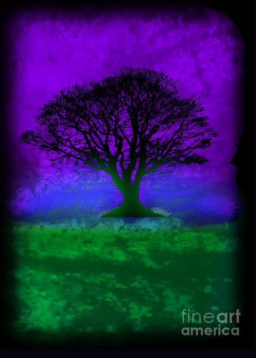 Original Greeting Card featuring the painting Tree Of Life - Purple Sky by Robert R Splashy Art