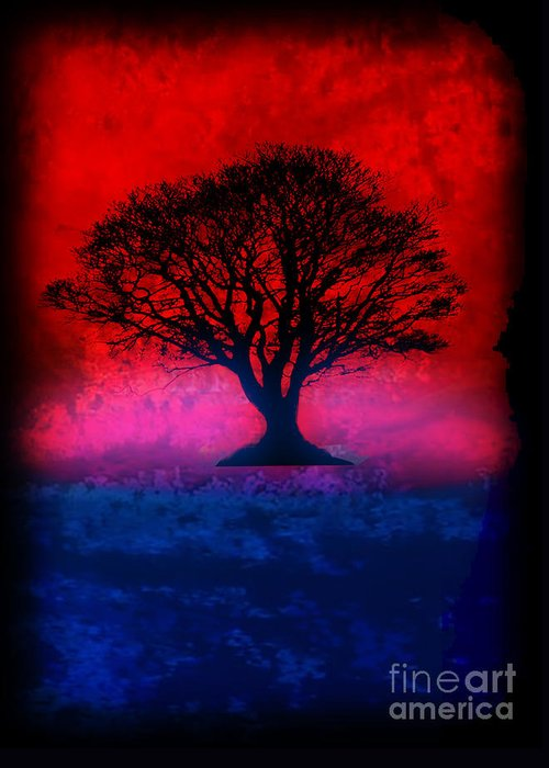 Original Greeting Card featuring the painting Tree Of Life - Red Sky by Robert R Splashy Art