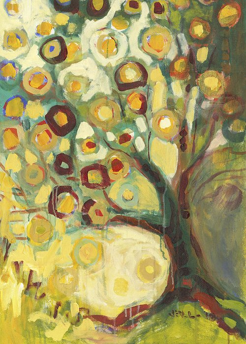 Tree Life Abstract Modern Circles Contemporary Nature Greeting Card featuring the painting Tree Of Life In Autumn by Jennifer Lommers