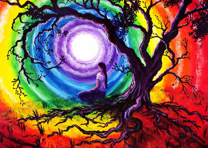 Rainbow Greeting Card featuring the painting Tree Of Life Meditation by Laura Iverson