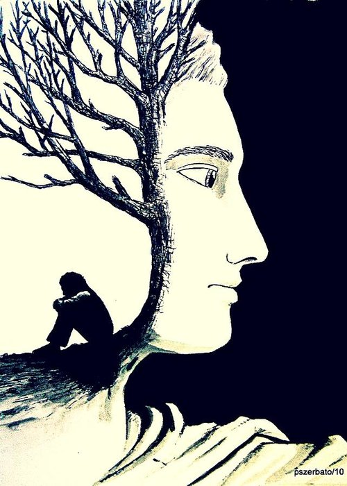 Tree Greeting Card featuring the digital art Tree Of Self Insight by Paulo Zerbato